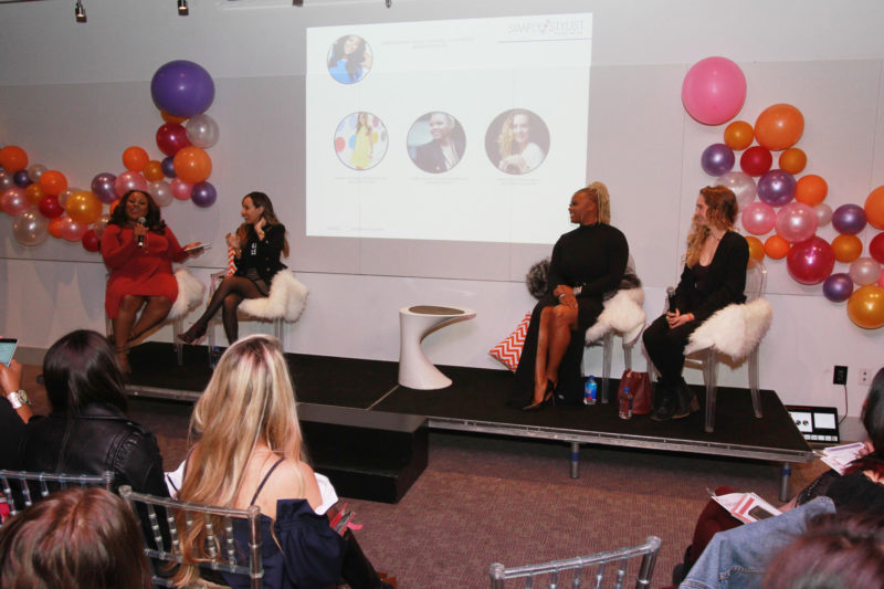 Denise Caldwell, Lilliana Vazquez, Claire Sulmers and Gwendolyn Floyd speak onstage at the Simply Stylist New York Fashion and Beauty Conference at YOTEL on Saturday, Nov. 5, 2016, in New York City. (Photo by Soul Brother)
